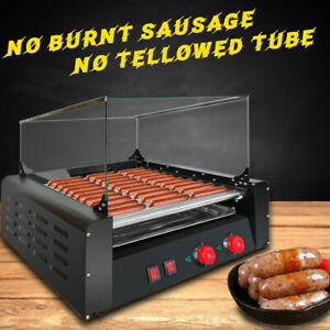 Commercial Hot Dog Machine 11 Roller 30 Hot Dogs Grill Cooker Warmer Cover 1650w