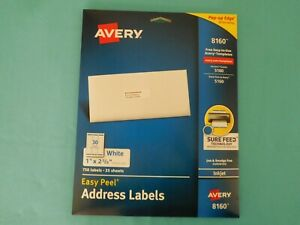Avery 8160 White Address Labels Inkjet Easy Peel 1 X 2 5 8 Open Pkg 600 Left