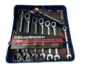 Gearwrench 8 piece Reversible Ratcheting Combination Wrench Set Metric 9543