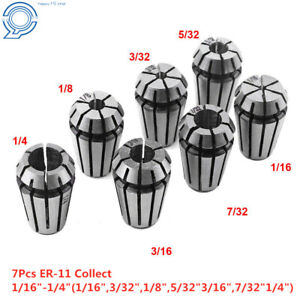 7pcs Er11 1 16 1 4 Clip Spring Collet For Cnc Milling Lathe Tool Workholding