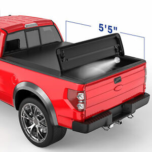 4 Fold 5 5ft Soft Truck Bed Tonneau Cover W Led Bulb For 09 14 Ford F150 On Top