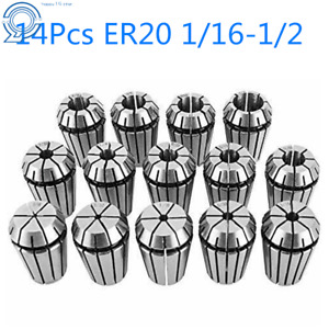 Er20 Spring Collet Set For Cnc Workholding Engraving Milling Lathe Tool 14pcs