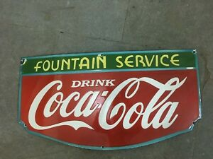Old vintage PORCELAIN DRINK COCA COLA FOUNTAIN SERVICE Size 14