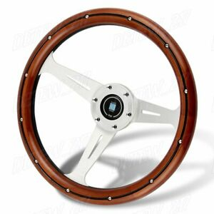S Style Classic 350mm Steering Wheel Mahogany Wood With Black Spoke Nardi New