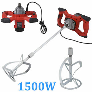 1500w Electric Mortar Mixer Dual High Low Gear 6 Speed Paint Cement Grout Ac110v