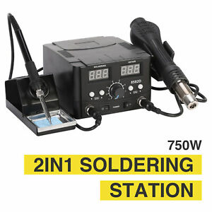Soldering Iron And Hot Air Gun 2 In1 Smd Rework Soldering Station High Capacity