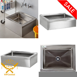 Commercial Stainless Steel Bowl Floor Mop Sink One Compartment Mop Cleaning New