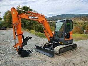 2014 Doosan Dx63 Excavator 14k Lb Enclosed Cab New Hydraulic Thumb Ready To Work