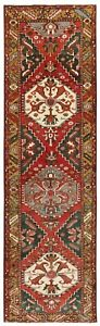 Hand Knotted Sarab Runner Nomadic Oriental Rug Wool Red Tribal 3 5 X 11 2