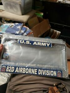 Us Army 82nd Airborne Division Metal License Plate Frame Made In Usa