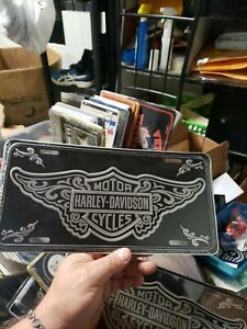 Harley davidson Black Vanity Front License Plate Chrome Bar Shield With Wings