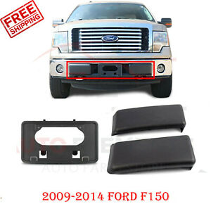 Front Bumper Guards Pads License Plate Frame Bracket For 2009 2014 Ford F150