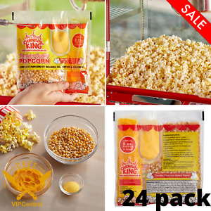 24 Pack 8 Oz All in one Popcorn Kit Large Butterfly Butter Popper Snack New