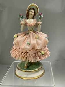 Antique Porcelain Pink Lace Mv Mueller Co Germany Girl With Flowers Figurine
