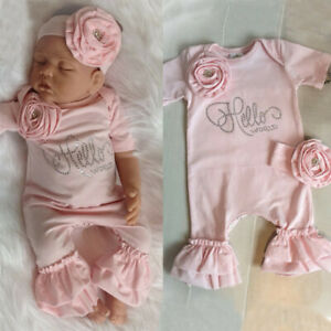 Newborn Baby Girl Flower Romper Ruffle Jumpsuit + Headband Outfit Clothes Set $11.99