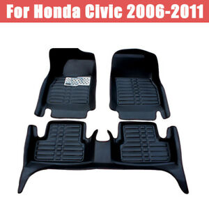 For Honda Civic 2006 2011 Car Floor Mats Front rear Liner Leather Waterproof Mat