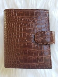 Brown Croco Planner A7 Pocket Rings Agenda Leather Organizer Notebook Journal