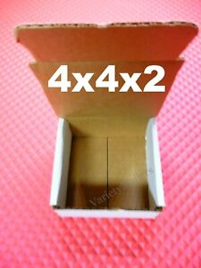 15 White Corrugated Boxes 4x4x2 Shipping Gift Storage Boxes Expedited Shipping