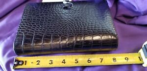 Coach Planner Telephone Book organizer With Rings Binder Black Leather 8 X 5