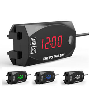 Universal Motorcycle Time Volt Meters Voltmeter 12v Led Digital Parts Waterproof