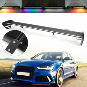 Black Universal Hatch Aluminum Rear Trunk Wing Racing Spoiler With Led Light Us
