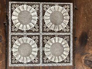 Antique Victorian T A Simpson Geometric Tile Sunflowers