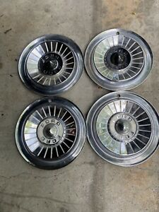 Set Of 4 Used Vintage Ford 14 Dog Dish Hubcaps