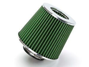 2 5 Inch Inlet Air Intake Cone Dry Universal Green Filter Car Suv