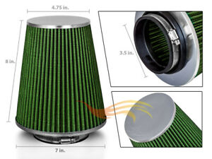 3 5 Inch Inlet Air Intake Cone Dry Universal Green Large Filter Car truck suv
