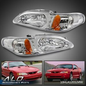 Pair For 1994 1998 Ford Mustang Clear Lens Led Halo Headlight Fog Lights Lamp