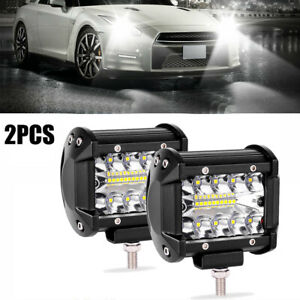 2x 4 Inch 360w Cree Combo Led Work Light Bar Pods Flush Mount Driving
