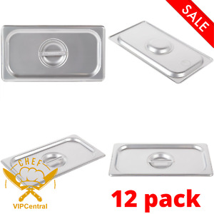 12 Pack Stainless Steel Commercial Steam Prep Table Food Pan Cover 24 Gauge