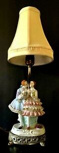 Antique Dresden Victorian Courting Man And Woman Figurine Lamp