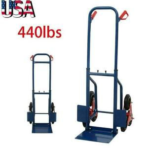 440lbs Heavy Duty Stair Climbing Moving Dolly Hand Truck Warehouse Cart Blue New