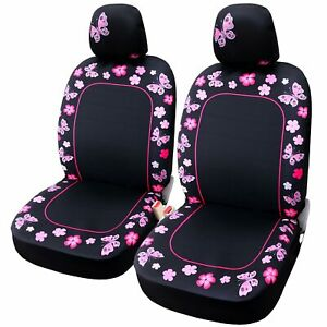 2pcs Butterfly Pink Car Seat Covers For Women Fit Most Vehicle Cars Sedan