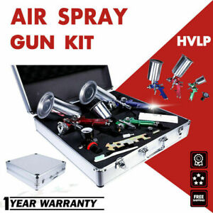 Etosha 3 Hvlp Air Spray Gun Kit Auto Paint Car Primer Detail Basecoat Clearcoat