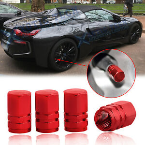 Red Metal Car Tire Wheel Valve Stems Caps Dust Cover New Universal Fit 4pcs