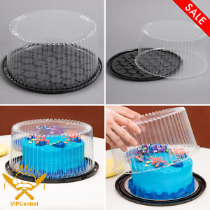 80 pack 10 2 3 Disposable Layer Cake Display Container With Clear Dome Lid