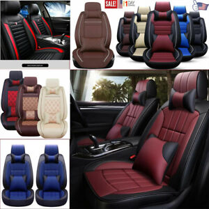 11pcs Luxury Leather Car Seat Cover Protector Cushion Front Rear Interior Set