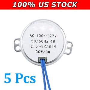 5pc Ac 100 127v 4w Ccw cw Direction 50 60hz 2 5 3rpm Electric Synchronous Motor