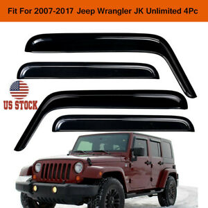 For 2007 2018 Jeep Wrangler Jk Unlimited Smoke Window Vent Visor Sun Rain Guards