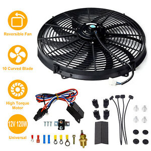 16 Inch Electric Radiator Cooling Fan 12v 3000cfm Relay Thermostat Mounting Kit