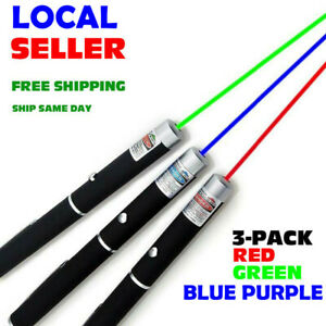 Pack Of 3 900mile Green blue Purple red Laser Pointer Pen 1mw Beam Pet Toy Usa