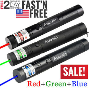 Pack Of 3 900miles Green red blue Purple Laser Pointer Pen Beam Focus zoom Lazer