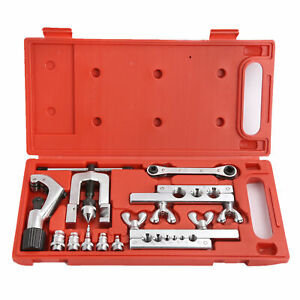 Flaring Swaging Tool Kit 45 Degree Brake Line Tubing Copper Aluminum Extrusion
