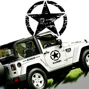 20 Army Star Distressed Vinyl Decal Car Hood Side Body Badge For Jeep Wrangler