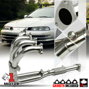 Stainless Steel 4 2 1 Exhaust Header Manifold For 92 96 Honda Prelude 2 3 H23a1