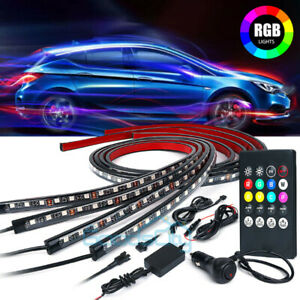 Upgrated 4 Rgb 8 Color Led Strip Under Car Tube Underglow Underbody System Light