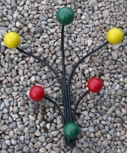 Eames Style Modern Retro Wire Wall Coat Rack With 6 Wooden Colored Balls