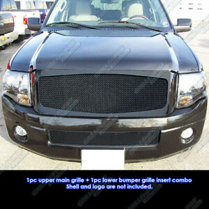 Fits 2007 2014 Ford Expedition Black Stainless Steel Mesh Grille Grill Combo